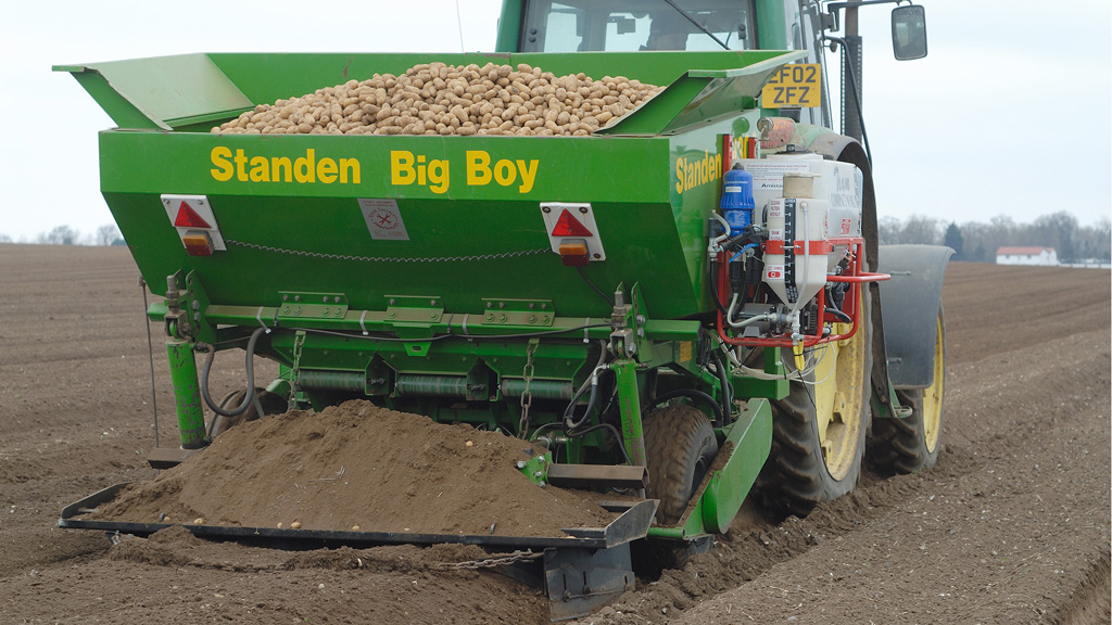 Amistar application on potato planter