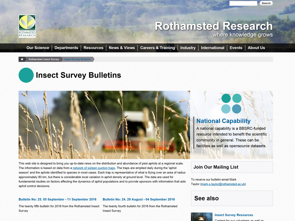 Rothamsted Insect Survey webpage