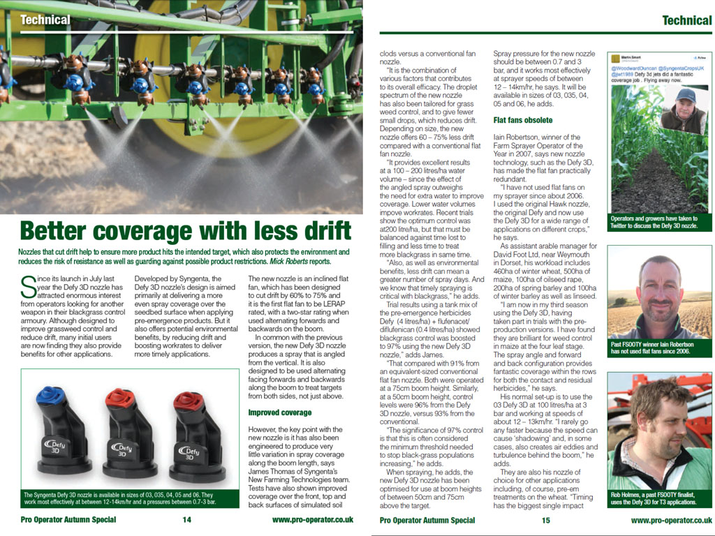 pro operator gives best autumn application advice syngenta pro operator defy 3d nozzle advice pages syngenta application specialist