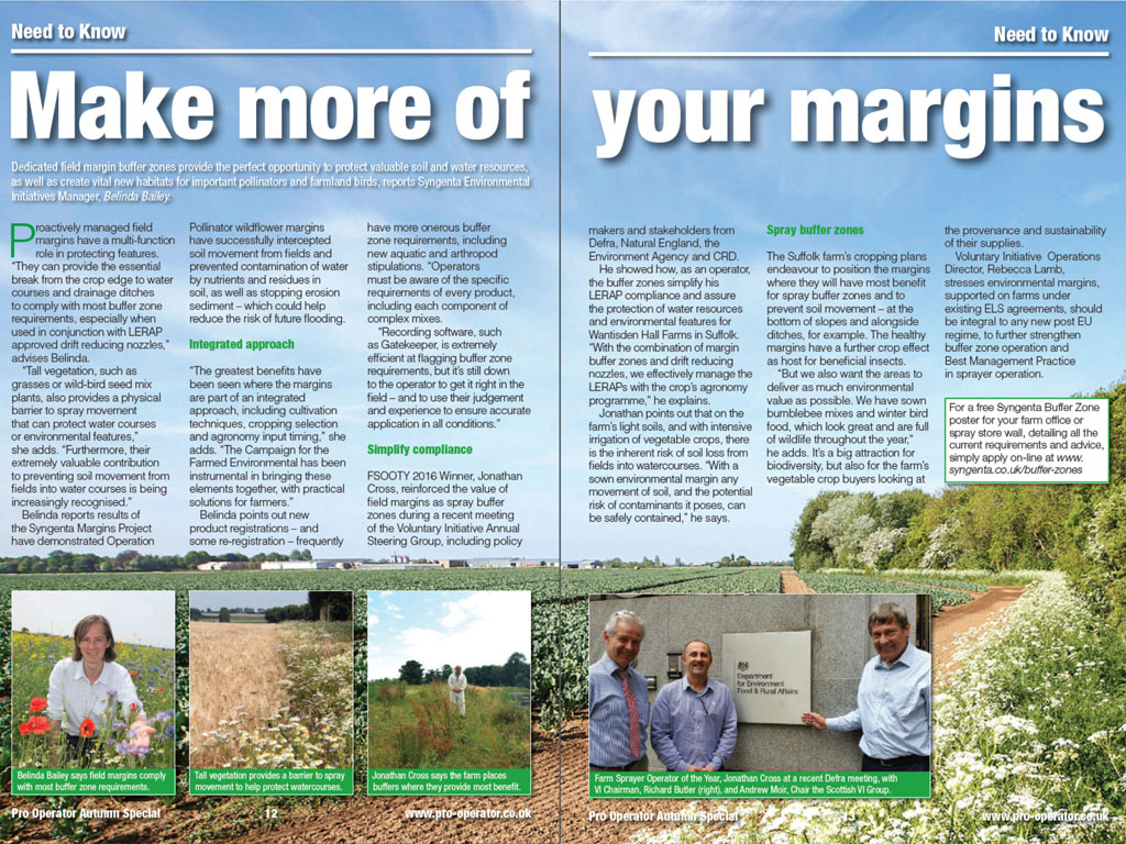 Pro Operator - Field margins advice pages