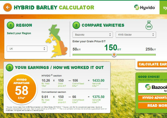 Hybrid barley cost calculator