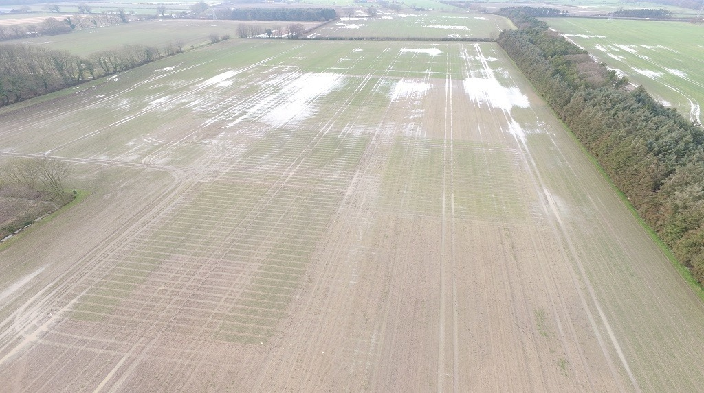 A photo of Syngenta's Crockey Hill Innovation Centre near York taken from the air, showing waterlogging from the recent harsh weather